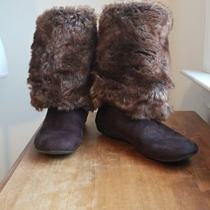 Brown Fur Lined Roll Down/Up Boots/Booties